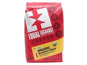 equal exchange organic ground coffee, breakfast blend, 12ounce bag