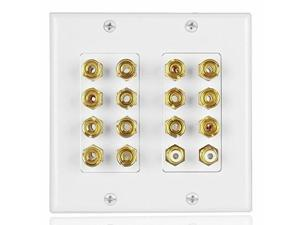 tnp home theater speaker wall plate outlet  7.2 7.1 surround sound audio distribution panel, gold plated copper banana plug binding post coupler, 2 rca lfe input jack for subwoofer 2gang