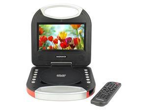 magnavox mtft750rd red 7 inch portable dvd player with remote control, and car adapter, tft screen, cd player