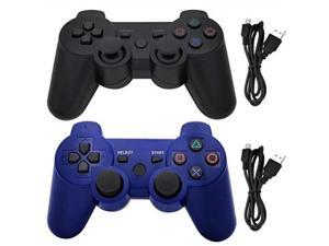 ceozon ps3 controller wireless playstation 3 dualshock 3 controller sixaxis dualshock bluetooth gamepad for playstation 3 remote joystick with charging cords 2 pack black + blue