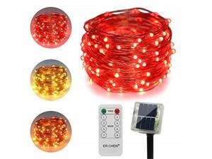 erchen dualcolor solar powered led string lights, 33ft 100 leds remote control color changing 8 modes copper wire decorative fairy lights for outdoor garden patio warm white, red