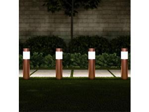 "pure garden 50lg1071 solar path bollard, set of 615"" stainless steel outdoor stake lighting for garden, landscape yd, driveway, walkway copper"