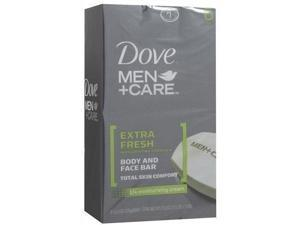 dove men+care body and face bar extra fresh 4 oz, 6 bar pack of 2