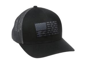 columbia men's pfg mesh ball cap, large/xlarge, black/fish flag