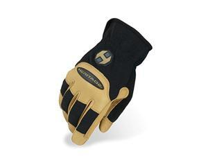 heritage stable work gloves, size 8, black/tan