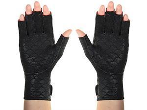 "thermoskin arthritic fingerless gloves, black, small, 7""7 3/4"" 1820 cm"