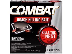combat roach killing bait, large roach bait station, kills the nest, childresistant, 8 count