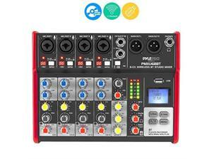 studio audio sound mixer board  6 channel bluetooth compatible professional portable digital dj mixing console w/ usb mixer audio interface  mixing boards for studio recording  pylepro pmxu68bt