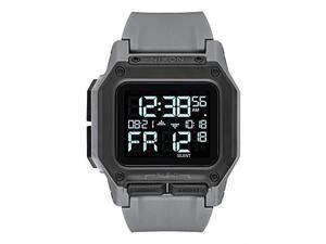 nixon regulus a1180  all gunmetal  100m water resistant men's digital sport watch 46mm watch face, 29mm24mm pu/rubber/silicone band