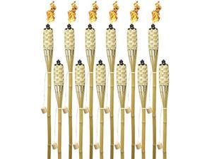 matney bamboo torches  includes metal oil canisters with covers to extinguish flame  great for outdoor decorating, luau, parties, extra long 60 inches 12 pack