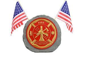 red carpet studios patriotic garden stone, fire department