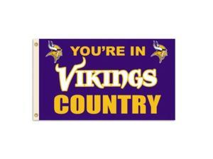 """nfl minnesota vikings 3by5 foot """"in country"""" flag"""