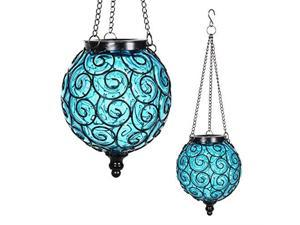 exhart solar hanging lantern, handblown blue glass  round hanging lantern light w/ 12 led firefly string lights, metal & glass lantern decorative orb for outdoor dcor 7in l x 7in w x 20in h
