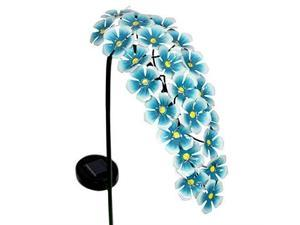 """exhart hanging turquoise hydrangea yard stake w/solar garden flower lights, 24 led flower lights metal stake, outdoor decor for garden, patio & front porch, 11"""" l x 5"""" w x 28"""" h"""