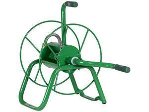 yard butler handy reel easy winding heavy duty metal garden 75' water hose reel low profile portable ground or wall mount ihr1grn green