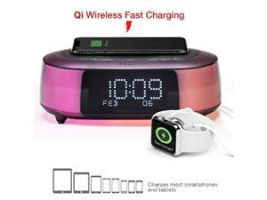 ihome ibtw281 alarm clock radio wake to light bluetooth speaker with color changing and wireless qi fast charging builtin dual alarm digital clock with dimmer, snooze, battery backup and usb charging