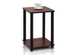 furinno turnntube end table, dark cherry/black