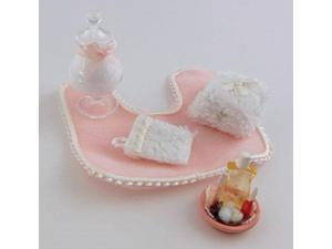 falcon dolls house 1:12 scale miniature bathroom accessory set in pink