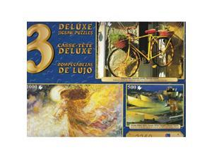 deluxe jigsaw puzzle 3pack 500  750  1000 pc: vizcaya, bilbao, spain, colourful bike, christmas angel