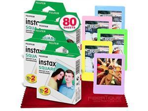 fujifilm instax square instant film 80 exposures for sq6, sp3, sq20 + fibertique cleaning cloth