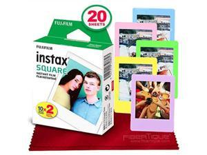 fujifilm instax square instant film 20 exposures compatible with fujifilm instax square sq6, sq10 and sq20 instant cameras + 5 color picture frames + fibertique cleaning cloth