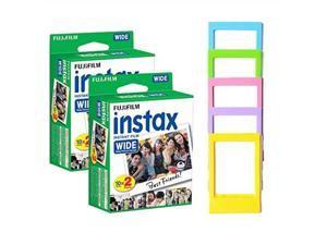 fujifilm instax wide instant film 40 shots + photo frames  instax wide film bundle