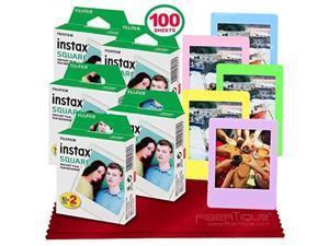 fujifilm instax square instant film 100 exposures compatible instax square sq6, sq10 and sq20 instant cameras + 5 color picture frames + fibertique cleaning cloth