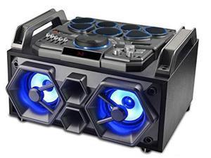 sylvania bluetooth lightup speaker and dj system with drum kit