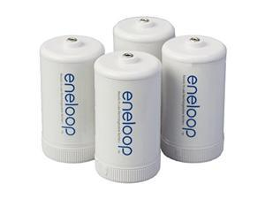 panasonic bqbs1e4sa eneloop d size battery adapters for use with nimh rechargeable aa battery cells, 4 pack