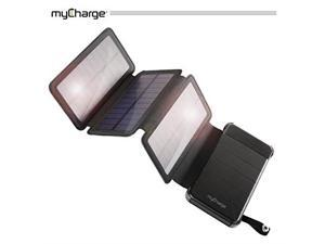 mycharge solar charger  powerfold 8000 mah power bank | portable charger for camping and outdoors with 2 usb ports and removeable folding solar panels
