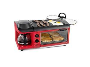 nostalgia bst3rr retro 3in1 family size electric breakfast station, coffeemaker, griddle, toaster oven  retro red