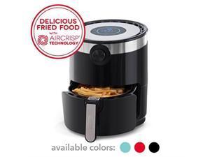 dash dmaf360gbbk02 aircrisp pro electric air fryer + oven cooker with digital display + 8 presets, temperature control, non stick fry basket, recipe guide + auto shut off feature, 3qt, black