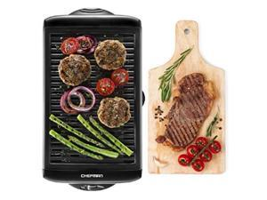chefman electric smokeless indoor w/nonstick cooking surface & adjustable temperature knob from warm to sear for customized bbq grilling, dishwasher safe removable water tray, black