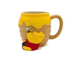 silver buffalo wtp3063d winnie the pooh honey pot ceramic 3d sculpted mug, 23ounces, brown