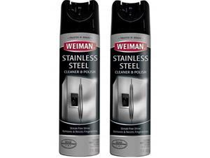 weiman stainless steel cleaner and polish  17 ounce 2 pack  nontoxic protects appliances from fingerprints and leaves a streakless shine for refrigerator dishwasher oven grill  34 ounce total