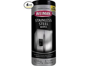 weiman stainless steel cleaning wipes removes fingerprints, residue, water marks and grease from appliances  works great on refrigerators, dishwashers, ovens, grills and more, 2 pack