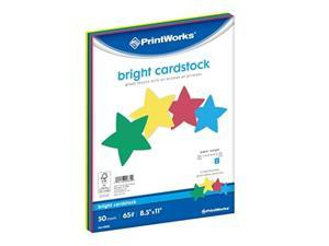 """printworks bright cardstock, 65 lb, 4 assorted bright colors, fsc certified, perfect for school and craft projects, 50 sheets, 8.5"""" x 11"""" 00682"""