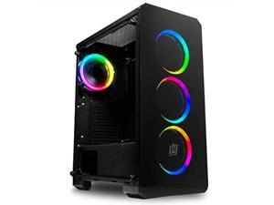 deco gear midtower pc gaming computer case 3sided tempered glass and led lighting  miniitx, microatx, atx  includes 4 120mm double ring fans w/expansion for more, 7 expansion slots, 4 drives