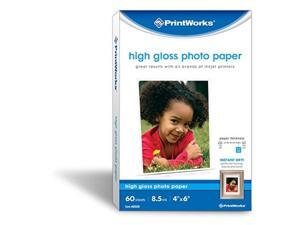 """printworks high gloss photo paper for inkjet printers, 8.5 mil, 60 sheets, 4"""" x 6"""" 00590"""