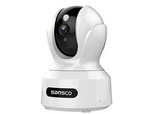 sansco indoor wireless wifi security camera full hd 2mp 1080p home monitor surveillance network ip camera for pet/baby with ir night vision, motion detection push alerts and twoway audio  white