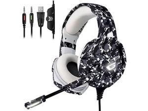 onikuma gaming headset ps4 headset with 7.1 surround sound, xbox one headset with noise canceling mic & led light, soft memory earmuffs compatible with ps4, mac, pc,ps2