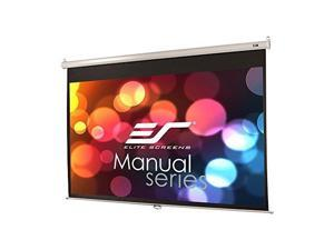 elite screens manual series, 100inch 16:9, pull down manual projector screen with auto lock, movie home theater 8k / 4k ultra hd 3d ready, 2year warranty, m100xwh