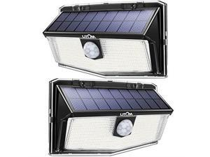 litom 160 led outdoor solar motion sensor lights, ip67 waterproof solar powered security lights wireless solar wall lights with 3 modes for garden patio yard deck garage fence pool  cold white 2 pack