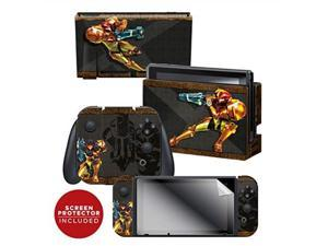 """controller gear officially licensed nintendo switch skin & screen protector set  metroid  """"samus""""  nintendo switch"""