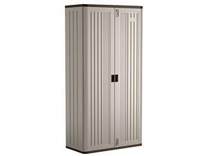 """suncast mega tall storage cabinet  resin construction for garage storage  80.25"""" garage organizer with shelving and holds up to 75lbs.  platinum doors & slate top"""