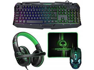 hypergear 4in1 gaming kit fullsized rgb backlit keyboard + ergonomic 6button backlit scrollwheel mouse + stereo headphones with mic + mousepad