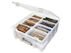 artbin 6990ab super satchel compartment box  clear, art and craft supplies box with removable dividers, secure latches, handles