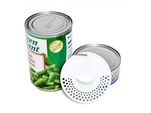 gadjit tuna can strainer pack of 2, white  kitchen utensil easily strains liquids out of canned fruits and vegetables, press device into open can, pour out excess fluid, toprack dishwasher safe