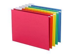 smead colored hanging file folder with tab, 1/5cut adjustable tab, letter size, assorted primary colors, 25 per box 64059
