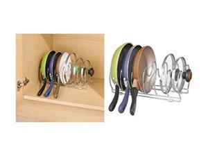 "idesign classico kitchen cabinet storage organizer for skillets, pans 13"", chrome"